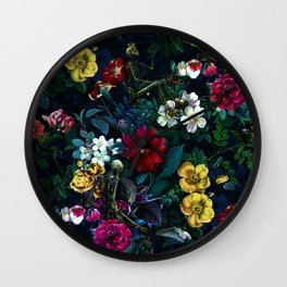 Flowers and Skeletons Wall Clock