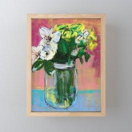 Pastel flower still life Framed Mini Art Print