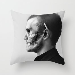 Skull Double Exposure Throw Pillow
