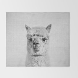 Alpaca - Black & White Throw Blanket