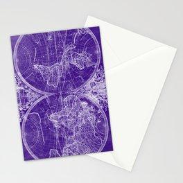 World Map (1691) Purple & White Stationery Cards