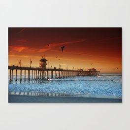 Sunrise Over Huntington Beach Pier Canvas Print