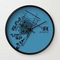 jfk Wall Clocks featuring JFK by 08 Left