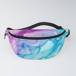 Purple and Turquoise Abstract Alcohol Ink Painting Fanny Pack