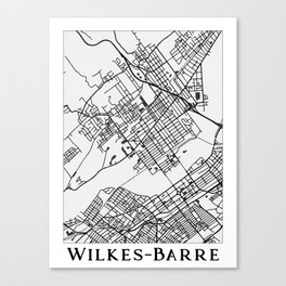Wilkes-Barre Pennsylvania Map Canvas Print