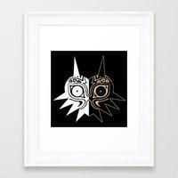 majora Framed Art Prints featuring Majora´s Mask Black & White by Mr. Carlos