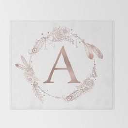 Letter A Rose Gold Pink Initial Monogram Throw Blanket