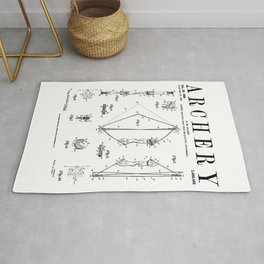 Archery Compound Bow Old Vintage Patent Drawing Print Rug