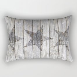 Grunge Star on old weathered grey wood Rectangular Pillow