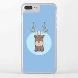 Cute Kawaii Christmas Reindeer Clear iPhone Case