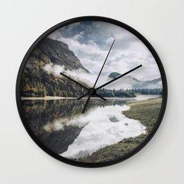 Morning mood lake with reflection in Bavaria Chiemgau Wall Clock