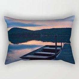 Pretty Adirondack Dawn: Jon Boat and Old Dock Rectangular Pillow