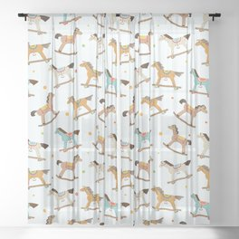 Wooden horses pattern Sheer Curtain