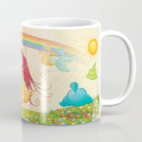 glee Mugs featuring The paradise of fruits and clouds by victimArte