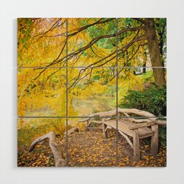Autumn Bench Meadow Wood Wall Art