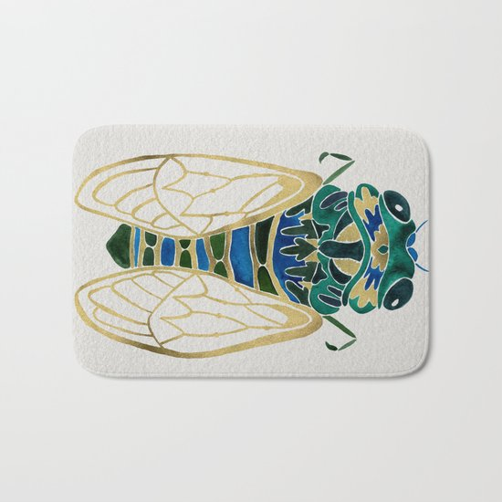 Green & Gold Cicada Bath Mat
