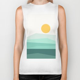Abstract Landscape 09 Ice Blue Biker Tank