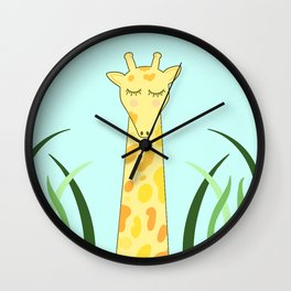 Giraffin me crazy- sleeping giraffe with blue background Wall Clock