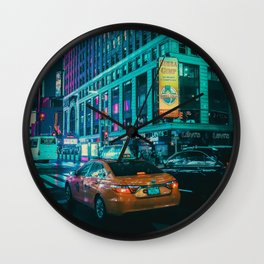 Taxi in the City (Color) Wall Clock