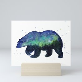 Polar Bear Silhouette with Northern Lights Galaxy Mini Art Print