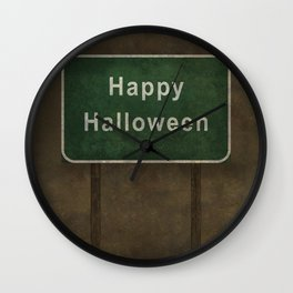 Scary Happy Halloween Roag Sign Wall Clock