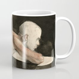 'The Pondering Man' Male Figure Drawing in Classic Realism Coffee Mug