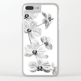 Black white orchids, kitchen decor, illustration Clear iPhone Case