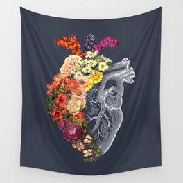 Flower Heart Spring Blue Grey Wall Tapestry