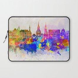 Aachen skyline in watercolor background Laptop Sleeve