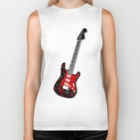 music notes Biker Tanks featuring Music Notes Electric Guitar by GBC Design