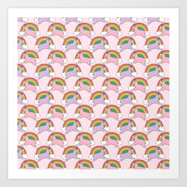 Llamacorns (Llama Unicorns) and Rainbows Art Print
