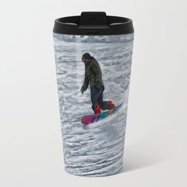 Cutting Corners - Winter Snow-boarder Travel Mug
