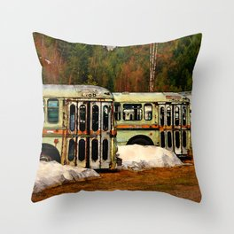Bus Cemetery Throw Pillow