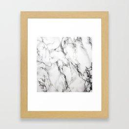 White Marble Texture Framed Art Print