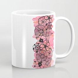 Black Floral Outline on Pink Watercolor Coffee Mug