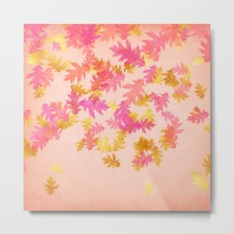 Autumn - world 1 - gold glitter leaves on pink background Metal Print