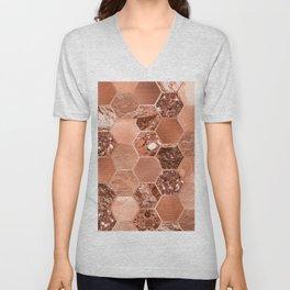 Rose gold hexaglam blonde Unisex V-Neck