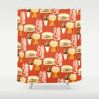 junk food Shower Curtains featuring Junk Food by popsicledonut