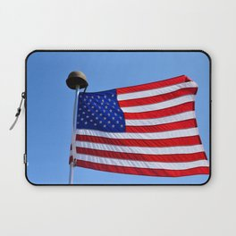 United States flag waving with a military helmet on the mast Laptop Sleeve
