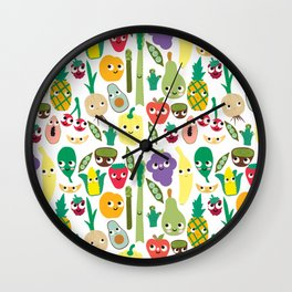 Fruit And Veggie Madness Wall Clock