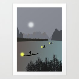 Chinese boats Art Print