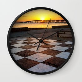 Checkerboard Sunset Wall Clock