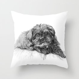 Shih Poo Resting Throw Pillow