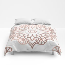 Marble mandala - floral rose gold on white Comforters