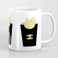 french fries Mugs featuring French fries by flowerstyle