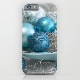 Blue  turquoise christmas baubles and bowl iPhone Case