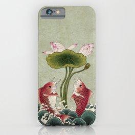 Jumping Carps and lotus B type: Minhwa-Korean traditional/folk art iPhone Case