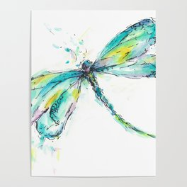 Watercolor Dragonfly Poster