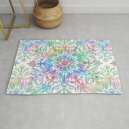 Nature Mandala in Rainbow Hues Rug