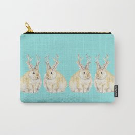 Watercolor Grumpy Jackalope Antler Bunny Carry-All Pouch